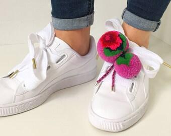 Pompon Pimp-2 sweet william, fuchsia, Pompon Brooch, Shoe Clips, Pompon Charm, Shoe Charm, Pompon Pin, Bag charm, flower brooch,