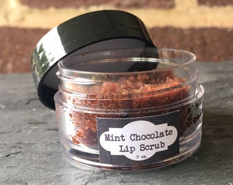 Mint Chocolate Vegan Lip Scrub, Natural Lip Scrub, Exfoliating Lip Scrub
