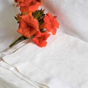 French vintage white damask table cloth 07085G