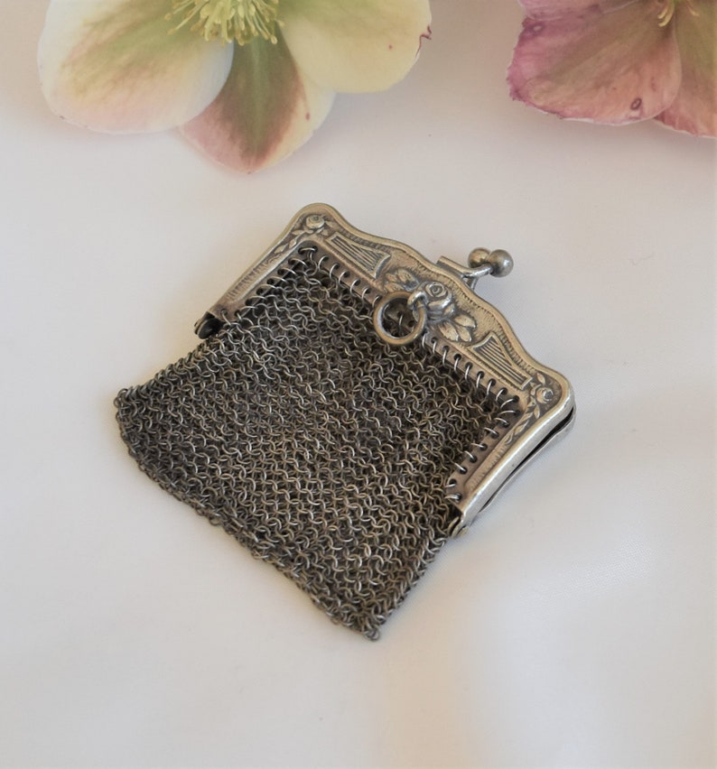 coin purse French vintage chatelaine purse silver chain mail