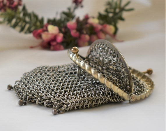 Antique French chainmail Chatelaine purse with two