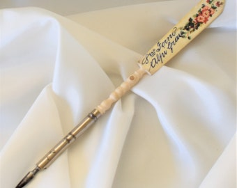 Vintage Italian pen and nib with bone handle