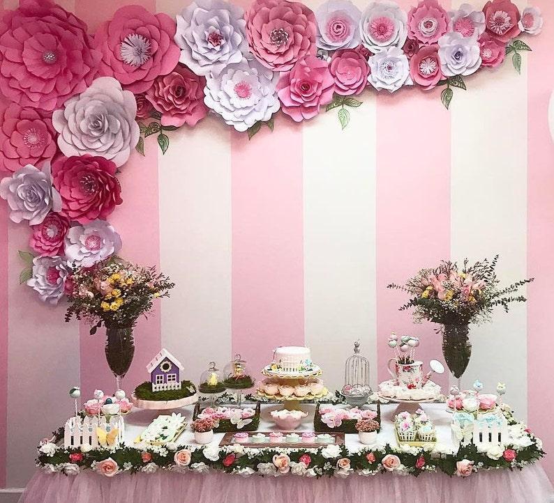 Rosa Gigante De Papel De Flores Decoraciones De Cumpleanos Etsy