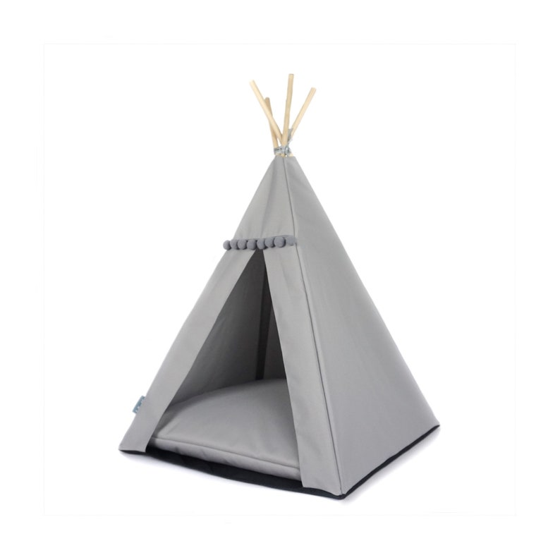 Dog teepee Waterproof with non-slip base cat bed. grey tent for cats and dogs