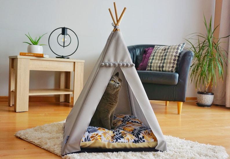 Gold Cat TentDog tent including pillowluxury cat teepeedog image 0