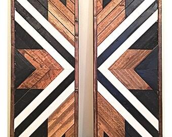 Geometric Wood Art Etsy