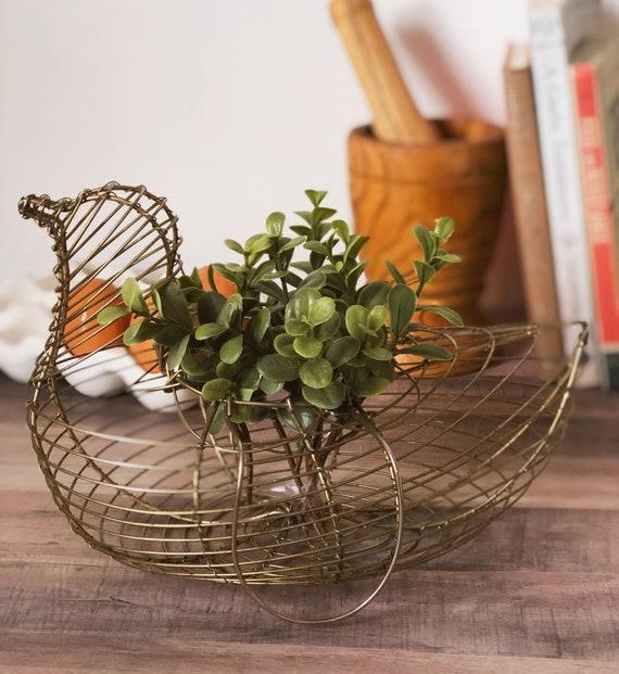 Vintage Wire Chicken Egg Basket, Vintage Kitchen Decor, Hen Shaped Basket,  Egg Basket, Rustic Decor, Primitive Decor, Mid Century,Minimalist