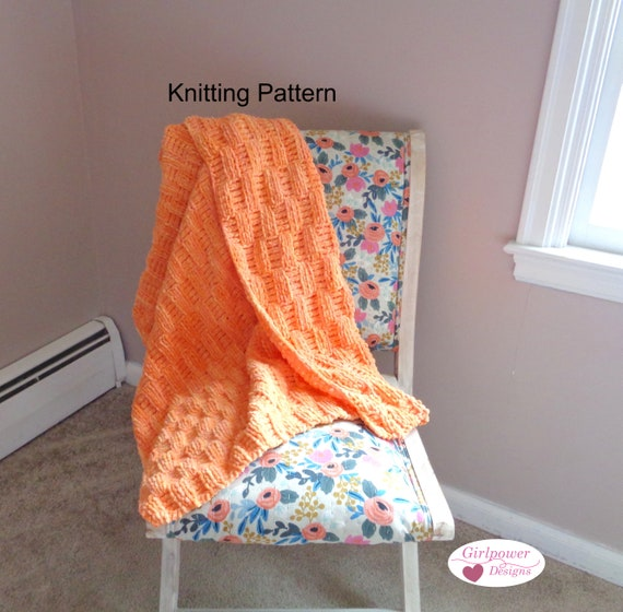 Checker Stitch Baby Blanket Knitting Pattern Bulky Yarn Etsy