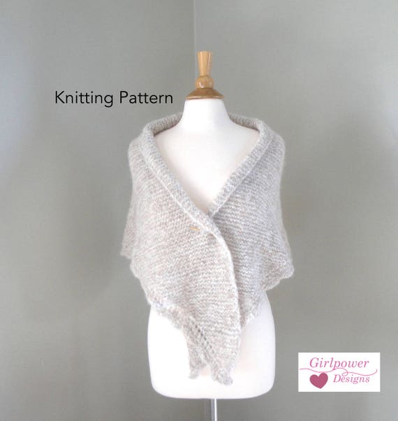 Easy Knit Shawl Pattern Side to Side Shawl with Scallop Lace