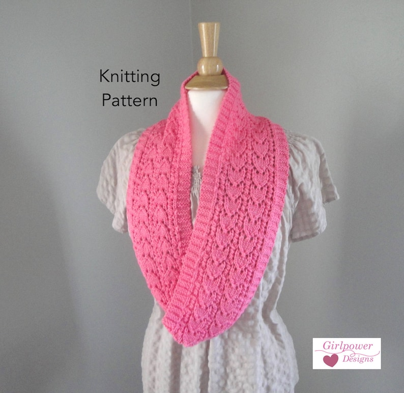 Heart Lace Cowl Scarf Knitting Pattern Infinity Eternity Loop Etsy
