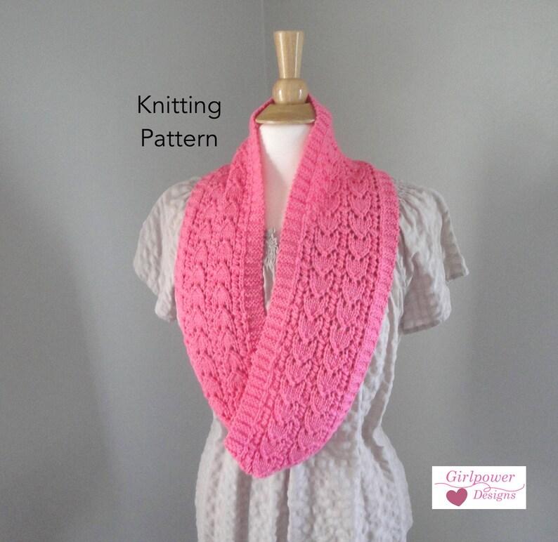 Heart Lace Cowl Scarf Knitting Pattern Infinity Eternity Loop Etsy