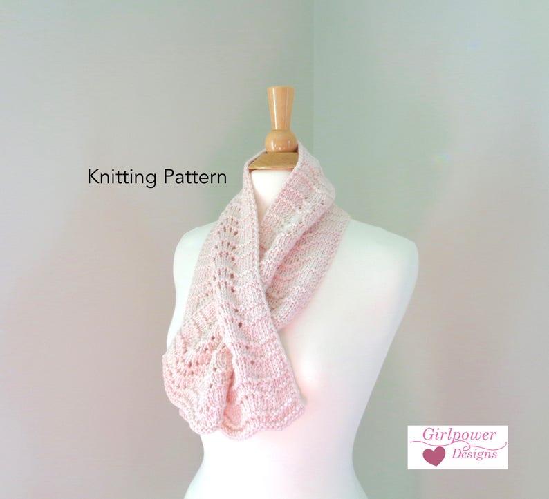 Keyhole Scarf Knitting Pattern Scallop Lace Easy Knit Etsy