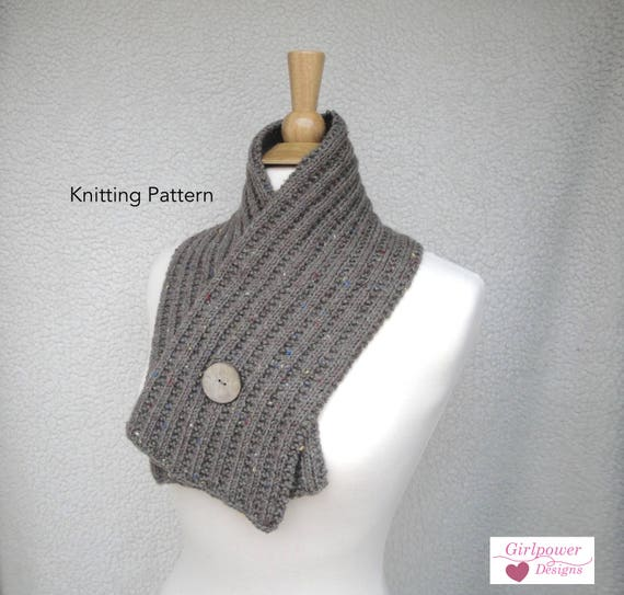 Button Wrap Scarf Knitting Pattern Diy Crossover Scarf Cowl Etsy