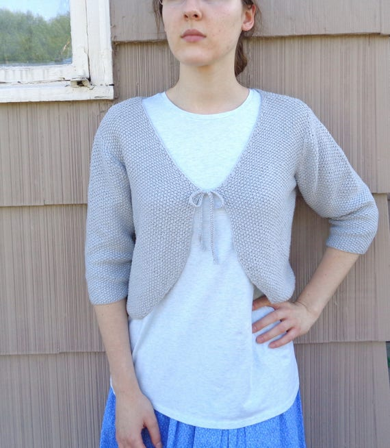 Tie Front Bolero Knitting Pattern Women Teen Girls Cropped Sweater Cardigan Shrug Worsted Yarn