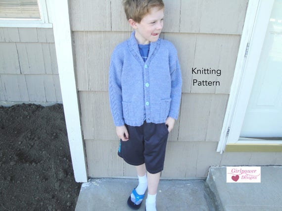 Boys Cardigan Sweater Knitting Pattern Boys Girls Shawl Etsy