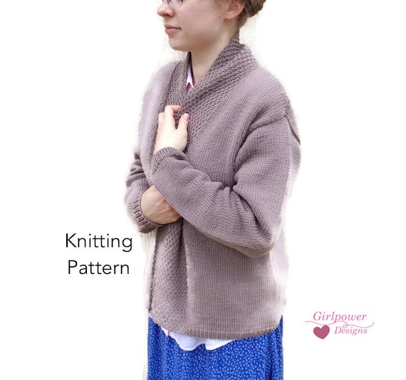 Drape Collar Cardigan Sweater Knitting Pattern Long Drop Etsy