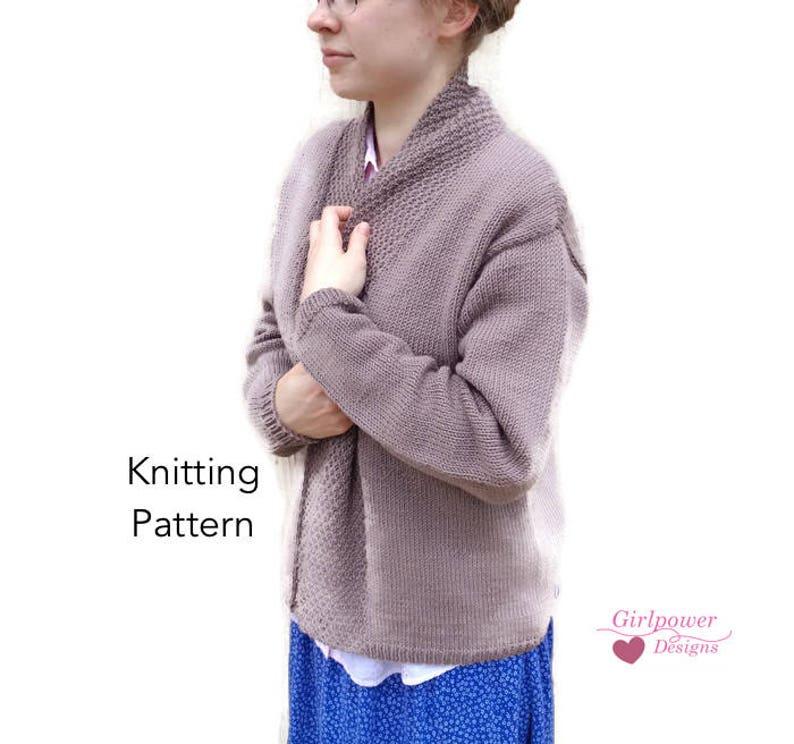 f18dafcad77b5e Drape Collar Cardigan Sweater Knitting Pattern Long Drop