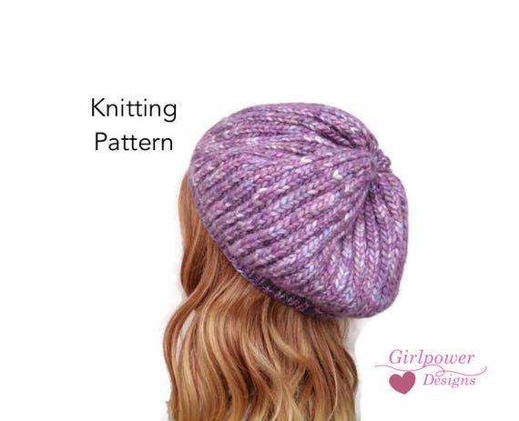 Brioche Stitch Hat Knitting Pattern Slouchy Beanie Tam Hat  430fea220fe