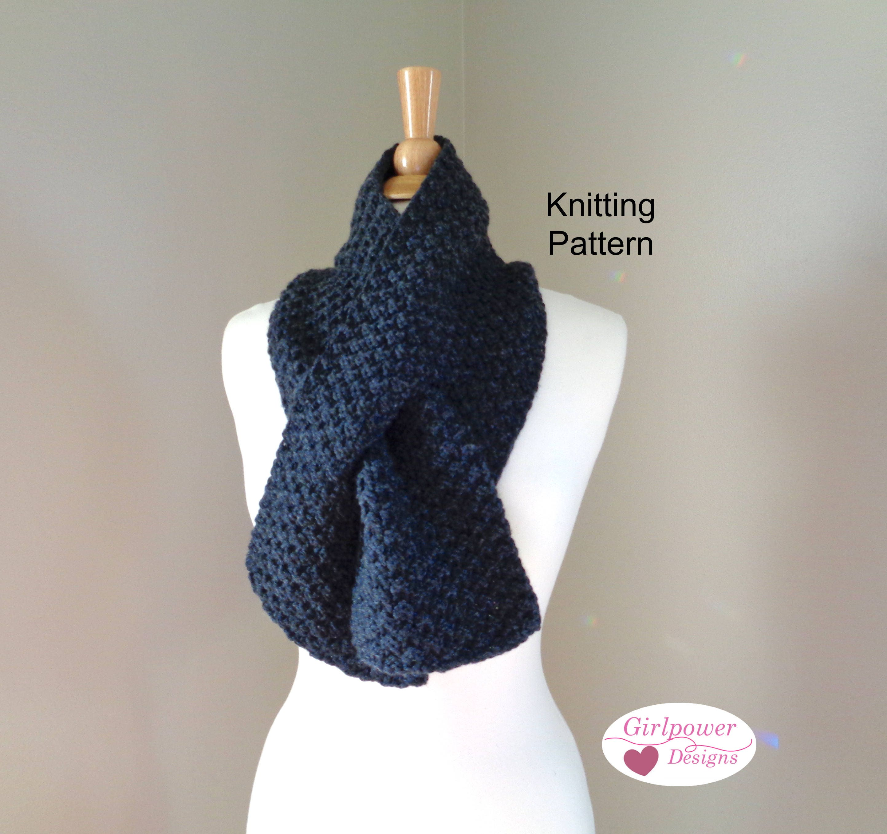 Chunky Keyhole Scarf Knitting Pattern, Box Stitch, Men or Women ...