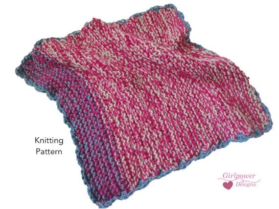 Quick Knit Baby Blanket Pdf Knitting Pattern Easy Beginner Etsy