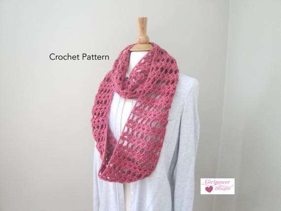 Lacy Cowl Scarf Crochet Pattern Infinity Scarf Pattern Quick Etsy