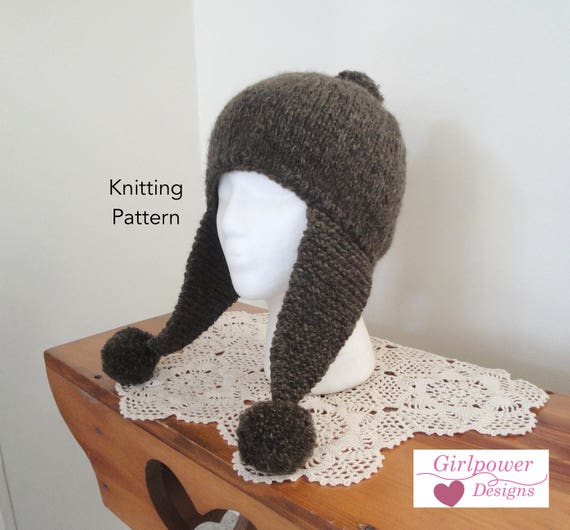 Earflap Hat With Pom Poms Knitting Pattern Aviator Hat Etsy
