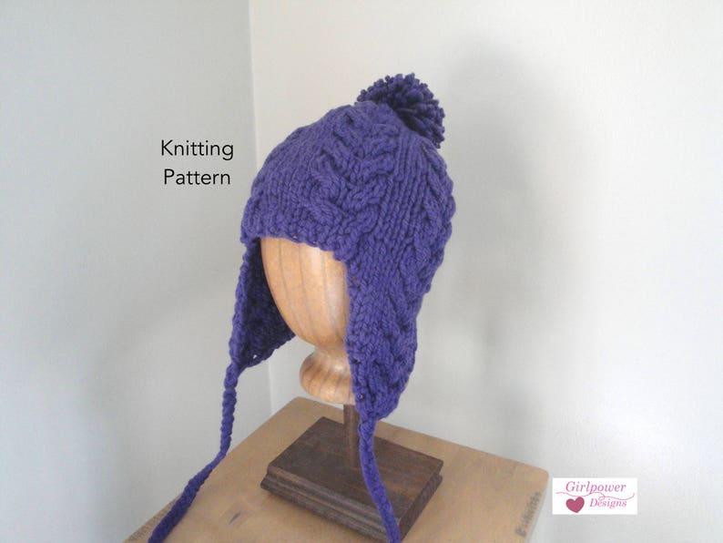 e45ac33eb7c8d Earflap Hat Knitting Pattern Super Bulky Yarn Quick Easy