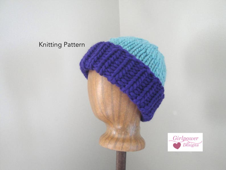 83c04fa93a3 Super Chunky Hat Knitting Pattern Easy Knit Pattern Warm