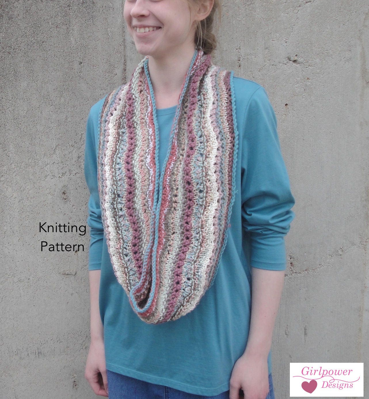 Striped Infinity Scarf Knitting Pattern, Eternity Cowl Scarf ...