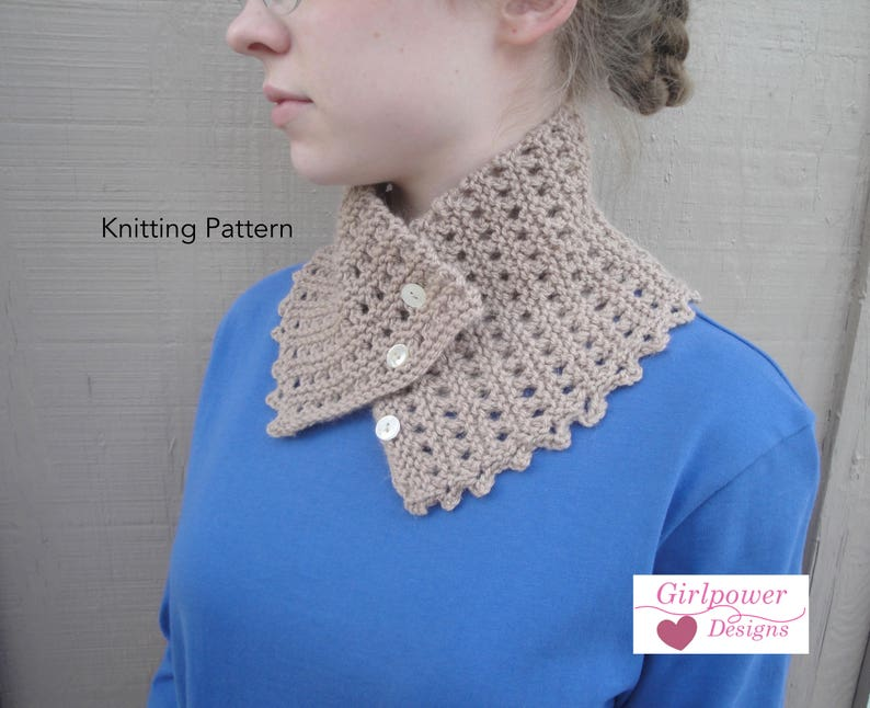 Button Scarf, Easy Knitting Pattern, Neck Warmer Cowl Scarf, Worsted DK  Yarn, 1 Skein Scarf, Stash Buster