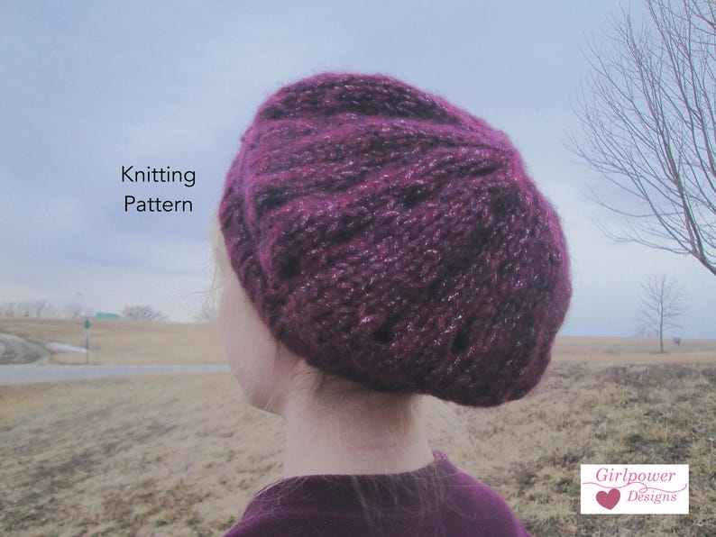 070ce47a61d Chunky Slouch Hat PDF Knitting Pattern Quick Easy Tam Hat