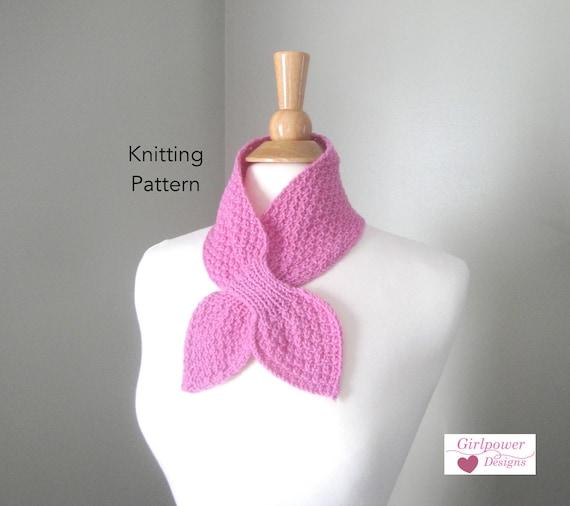 Moss Stitch Ascot Scarf Knitting Pattern Easy Knit Neck Etsy