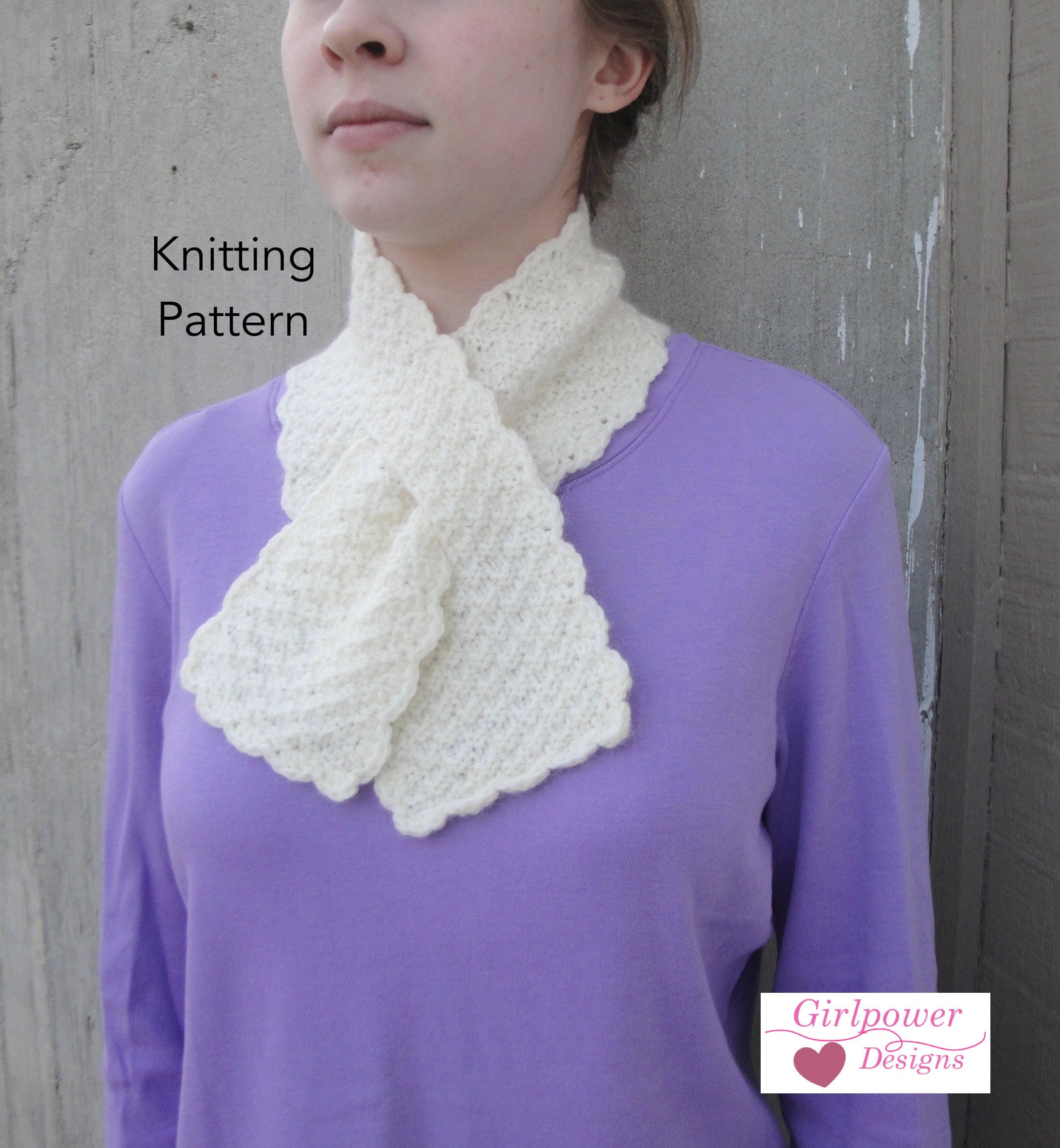 Pull Through Scarf Knitting Pattern, Easy Ascot Neck Warmer, Office ...