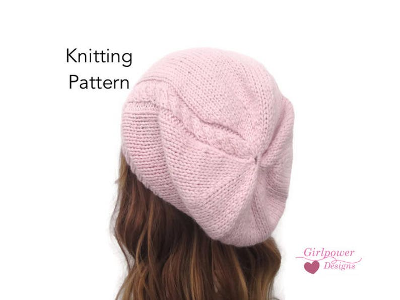 89c85ac464e Easy Slouch Hat PDF Knitting Pattern Cable Detail Beanie