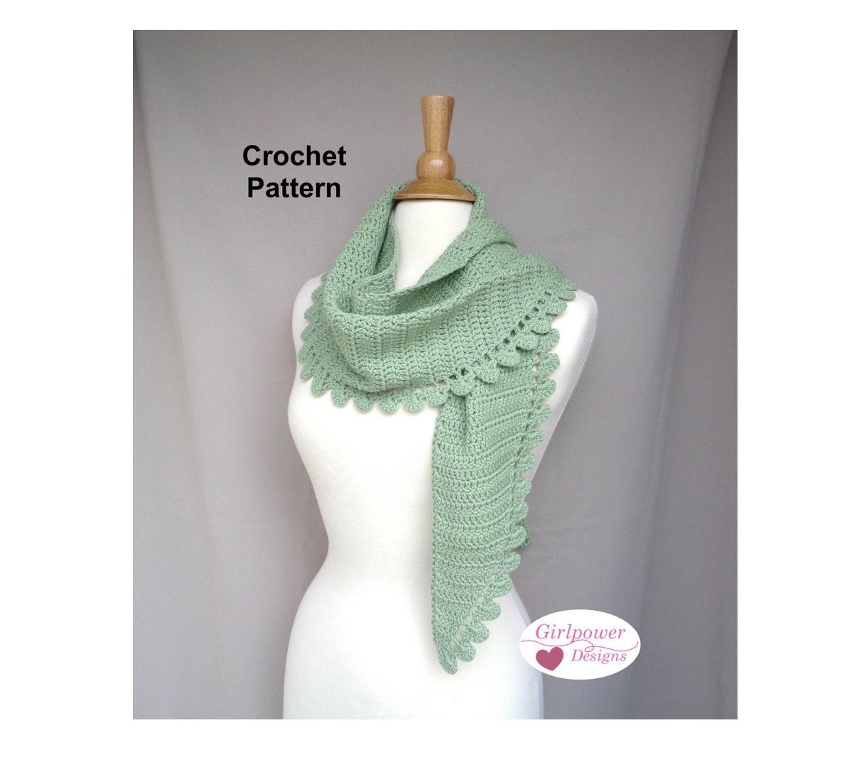 Wrap Shawl Crochet Pattern Side To Side Scallop Lace Edge Etsy
