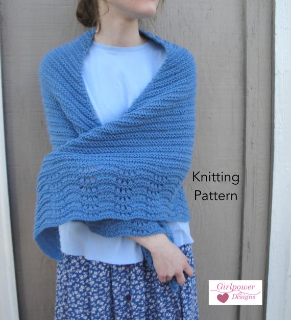 Bonnie Shawl Knitting Pattern Easy Knit Wrap Cape Worsted Etsy