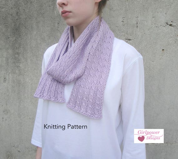 Easy Knit Scarf Pdf Knitting Pattern Cable Tutorial Easy Etsy