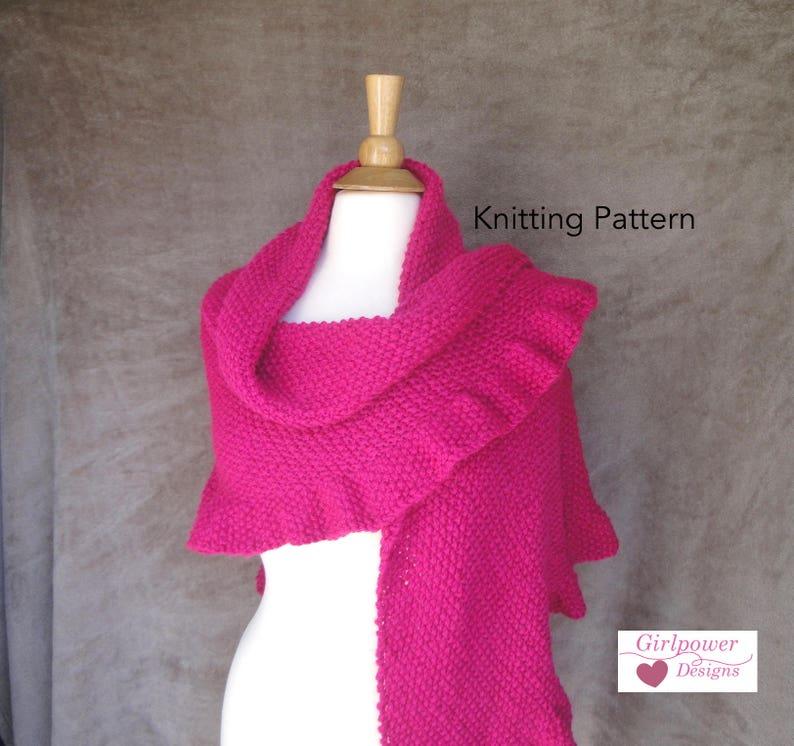 Ruffle Edge Shawl Knitting Pattern Easy Knit Shawl Worsted Etsy