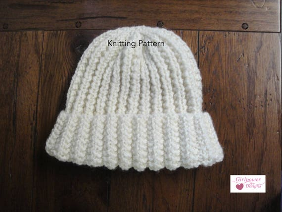 Easy Knitting Pattern Ribbed Hat Beanie Kids Women Men Etsy