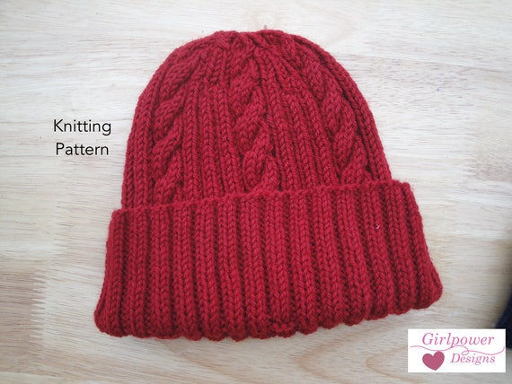 Classy Cable Hat Pdf Knitting Pattern Worsted Wool Yarn Etsy