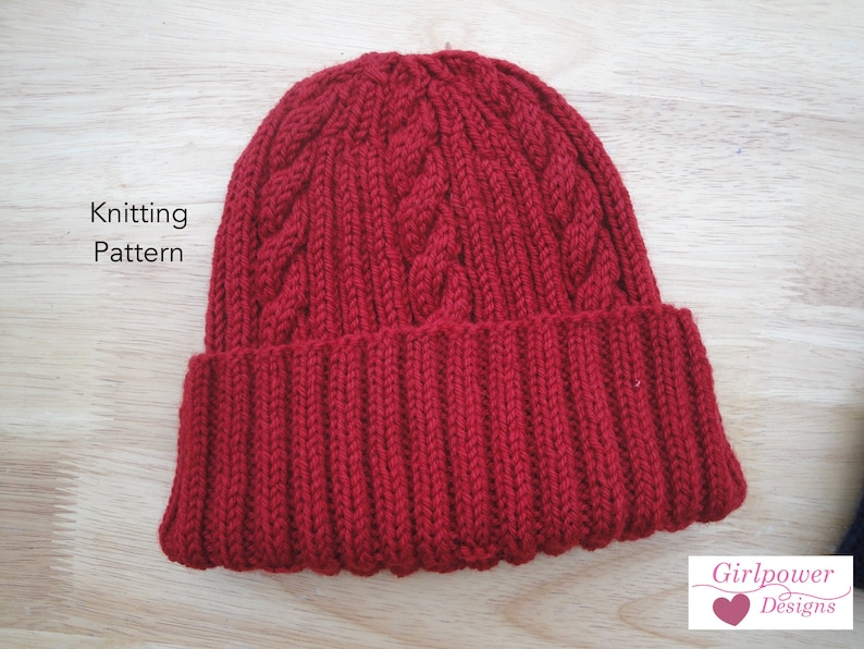 Classy Cable Hat PDF Knitting Pattern Worsted Wool Yarn  a887cd93a73