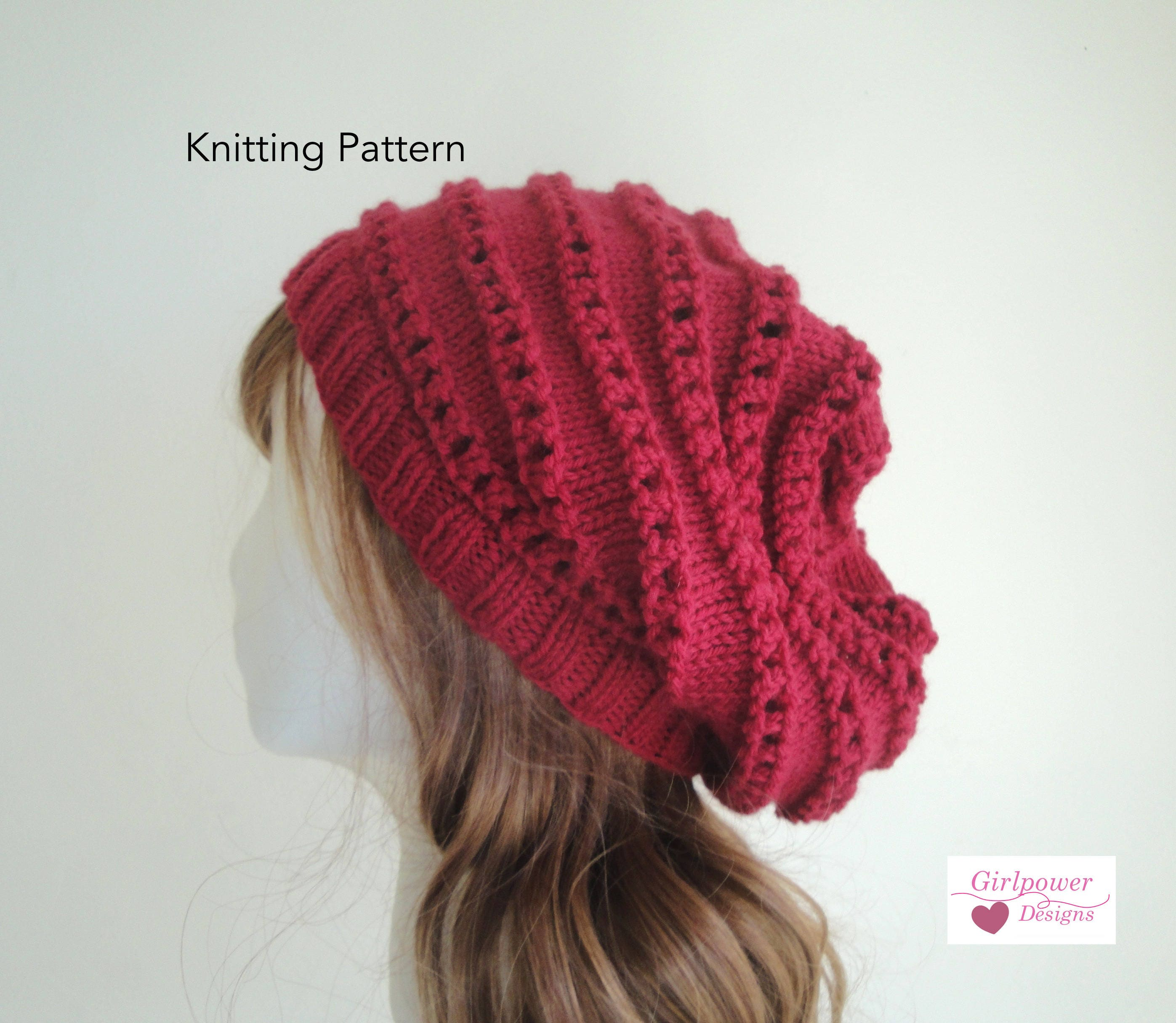 Knitting Pattern Slouch Hat with Ridges, Horizontal Lace, Knit Purl ...
