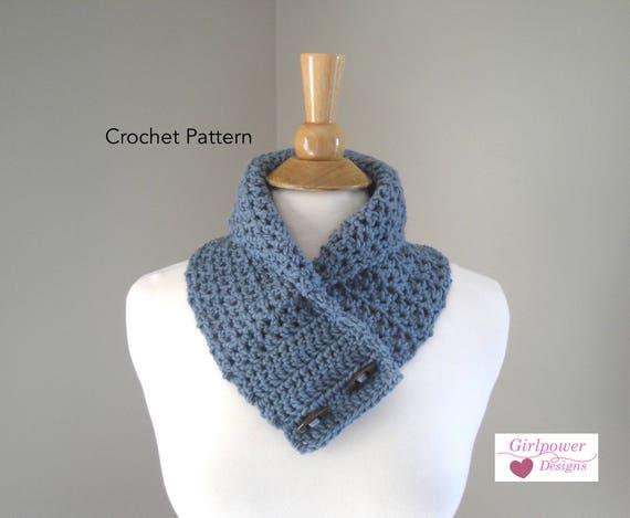 Button Cowl Scarf Easy Crochet Pattern Neck Warmer Pattern Etsy