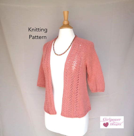 Open Front Cardigan Knitting Pattern Lace Front Raglan Etsy