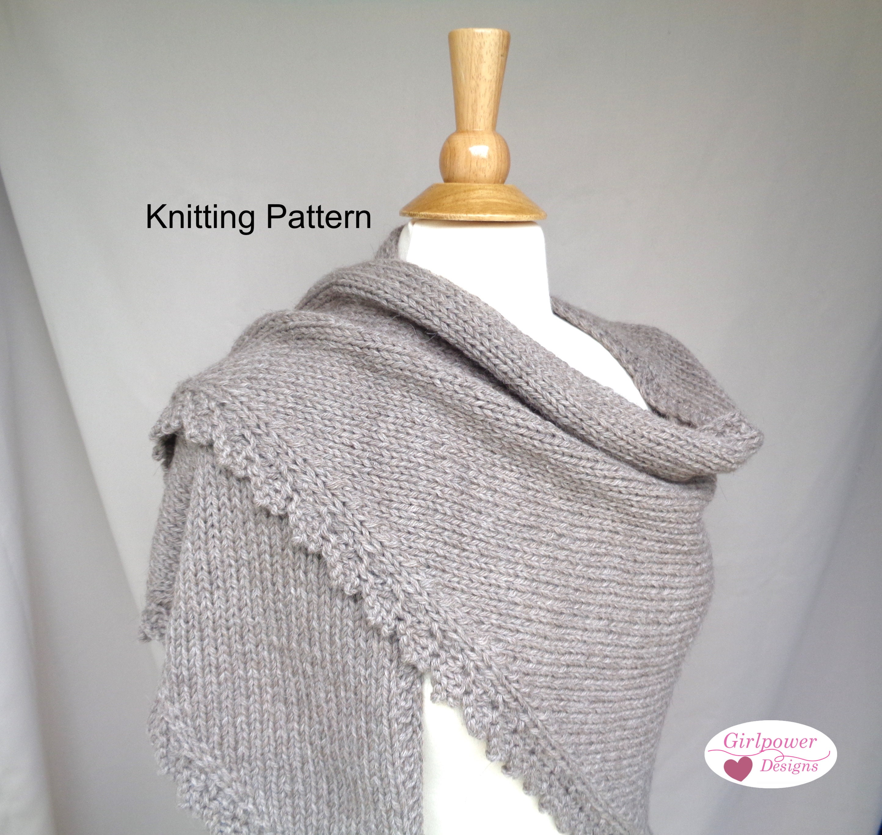 Chunky Shawl With Lace Border Knitting Pattern Side To Side Etsy