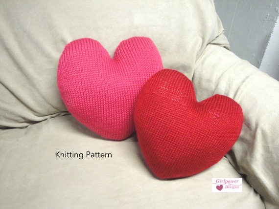 Sweet Heart Pillow Knit Pattern Heart Shaped Cushion Throw Etsy