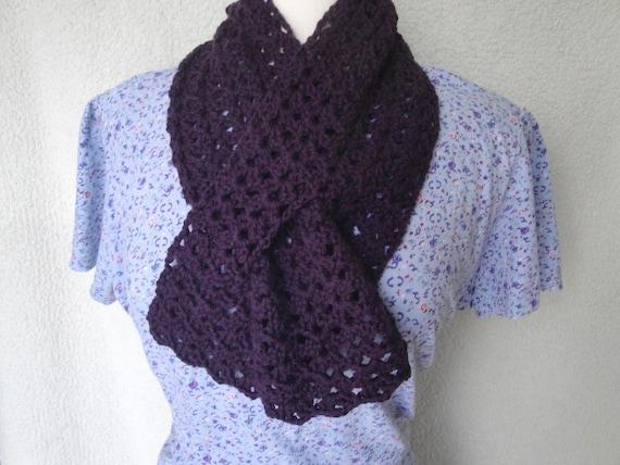 Easy Crochet Pattern Keyhole Scarf Worsted Yarn Lacy Etsy