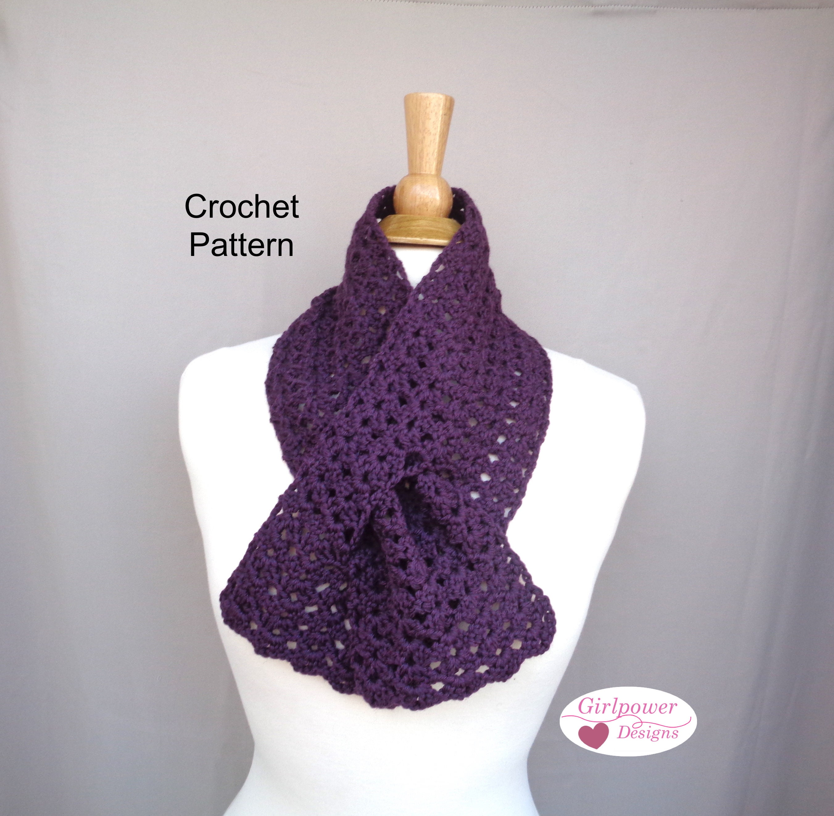 Easy Crochet Pattern Keyhole Scarf Worsted Yarn Lacy Etsy