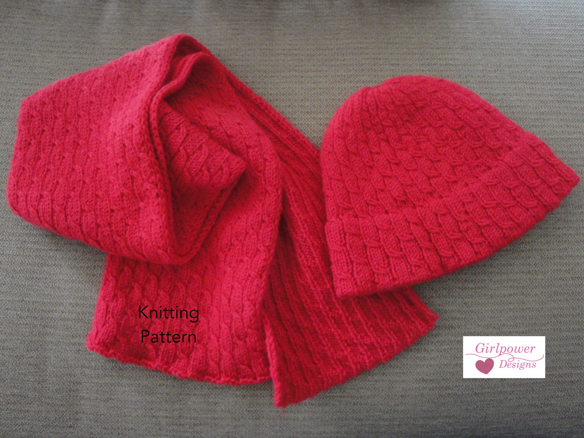 Knitting Pattern Cable Hat Scarf Easy Knit Beanie Hat Etsy