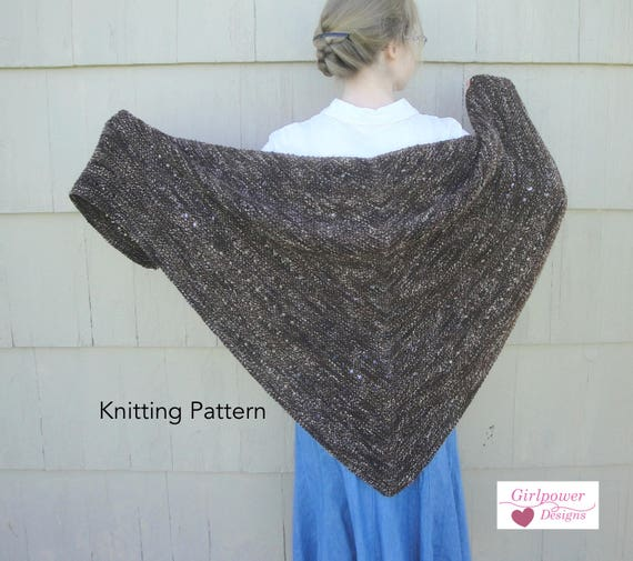 Espresso Shawl Knitting Pattern Easy Knit Garter Stitch Etsy
